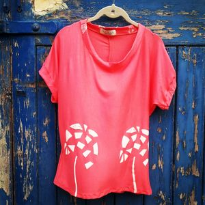 Coral Palm Tree Hand Printed Tee - tops & t-shirts