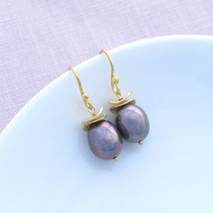 Shangri La Freshwater Pearl Gold Earrings