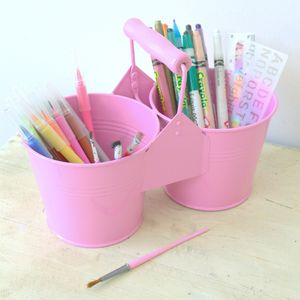 Pink Metal Pencil And Paintbrush Pot - little extras for children