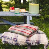 Checked Recycled Wool Blanket - garden