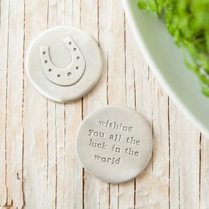 'All The Luck In The World' Horseshoe Pocket Coin - decorative accessories