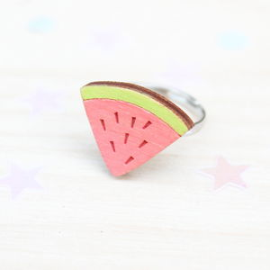 Wooden Watermelon Ring - children's jewellery