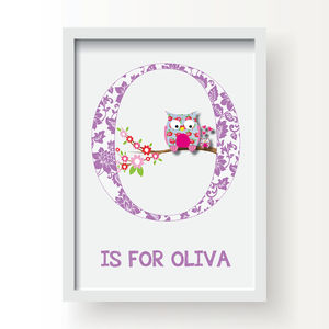 Personalised Letter Girls Nursery Print - children's pictures & paintings