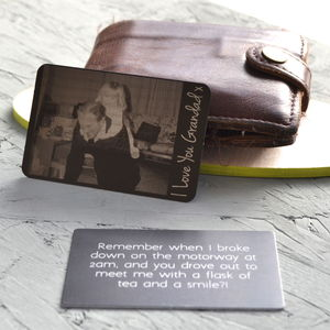 Personalised Photograph Metal Wallet Keepsake Card - gifts for fathers