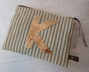 Striped Purse With A Personalised Glitter Initial