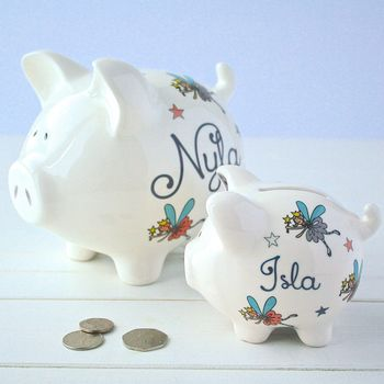 Fairies personalised ceramic piggy bank