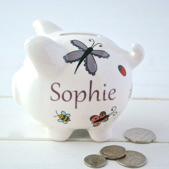 Butterflies, bees and ladybirds personalised ceramic piggy bank