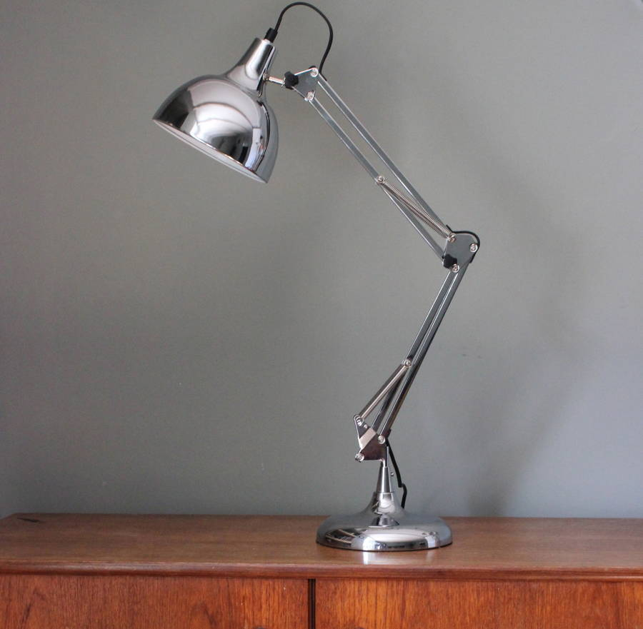 Chrome angled table lamp by the forest co notonthehighstreet chrome angled table lamp aloadofball Image collections