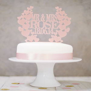 Personalised Heart Wreath Wedding Cake Topper - table decorations
