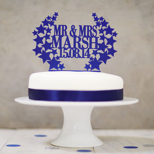 Personalised Star Wreath Wedding Cake Topper - cake toppers & decorations