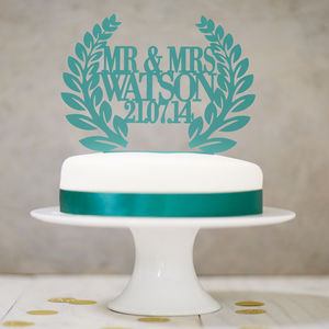 Personalised Wreath Wedding Cake Topper - winter wedding ideas