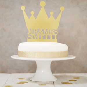 Personalised Crown Wedding Cake Topper - weddings sale
