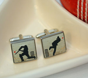 Cricket Enamelled Cufflinks - men's jewellery