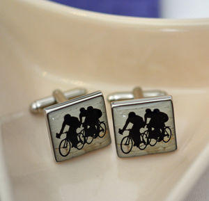 Cycling Enamelled Cufflinks