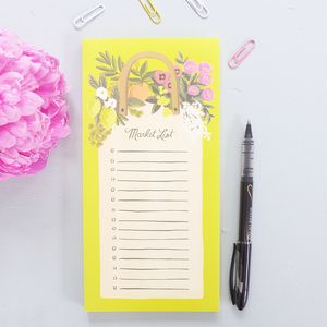 Floral Farmers Market List Pad With Magnet - office & study