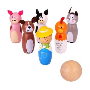 Children's Wooden Farm Animal Skittles - games