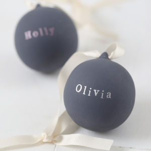 Personalised Metallic Ceramic Bauble - tree decorations