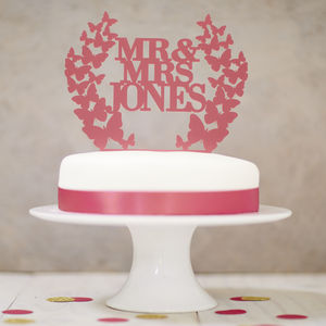 Personalised Butterfly Wreath Wedding Cake Topper - cake toppers & decorations
