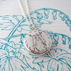 Boxing Hare Locket - necklaces & pendants