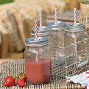 Set Of Four Jam Jar Glasses With Wire Rack