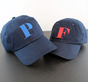 Personalised Adult And Child Initial Cap Set