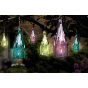 Set Of Three Coloured Glass Bottle Candle Lanterns - bedroom