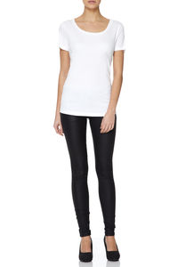 White Scooped Neck T Shirt In Cotton Modal