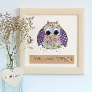 Personalised Baby Owl Embroidered Plaque - gifts for babies