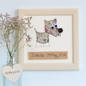 Personalised Dog Embroidered Plaque - mixed media pictures for children