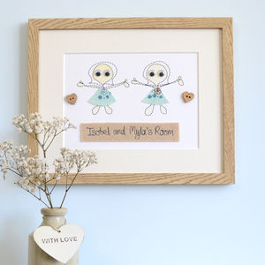Personalised Siblings Embroidered Framed Artwork - mixed media pictures for children