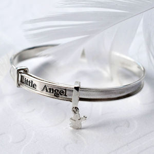 Sterling Silver Little Angel Bangle - christening jewellery
