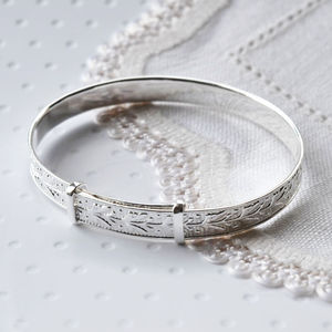Silver Patterned Christening Bangle