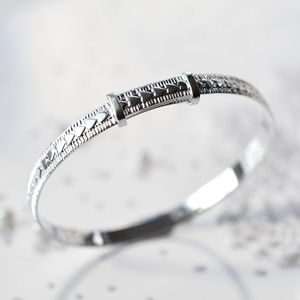 Silver Heart Christening Bangle - christening jewellery