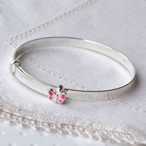 Silver Butterfly Christening Bangle