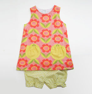 Pink Scandi Floral Organic Baby Dress - dresses