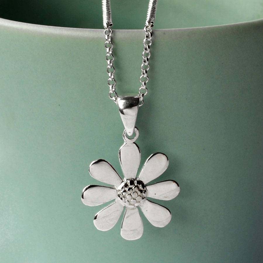 Silver contemporary daisy necklace by martha jackson sterling silver contemporary daisy necklace mozeypictures Images