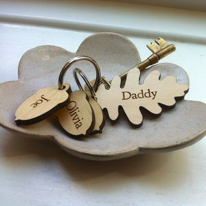Personalised Oak Leaf And Acorn Keyring