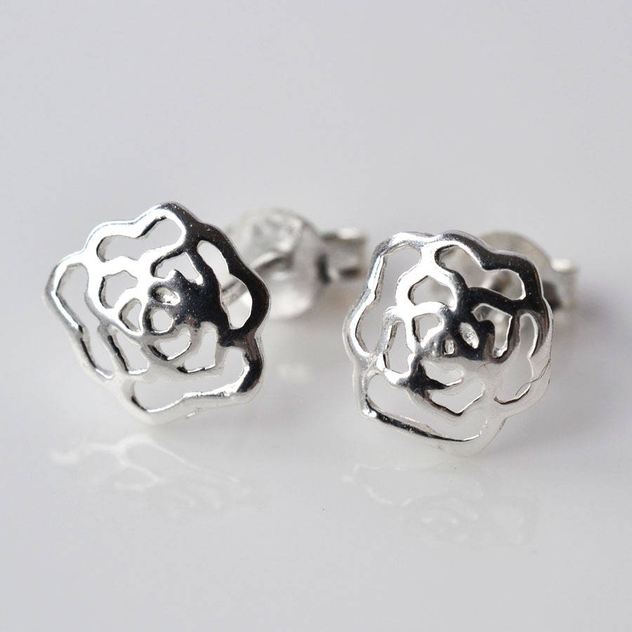 Delicate Silver Rose Stud Earrings