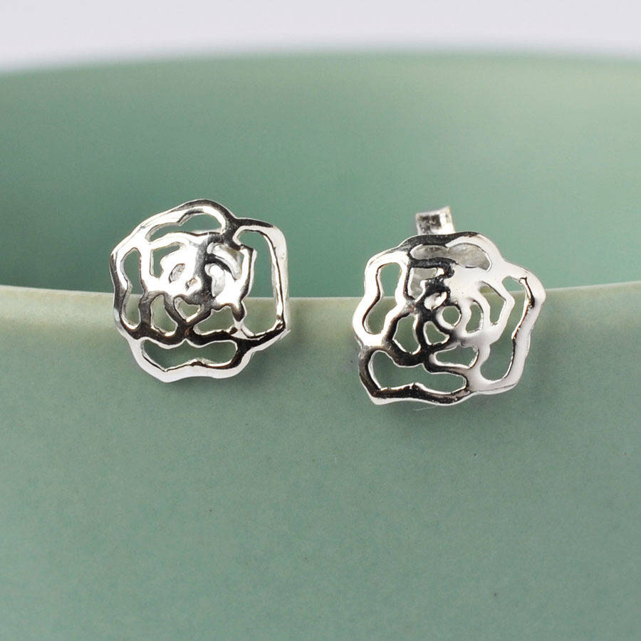e439d6532 delicate silver rose stud earrings by martha jackson sterling silver ...