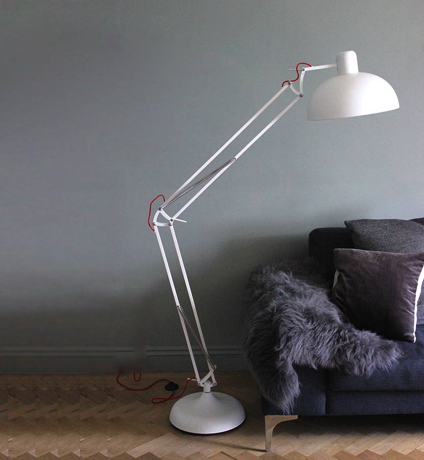 Matt white angled floor lamp
