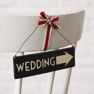 Wedding Small Black Arrow Sign - room decorations