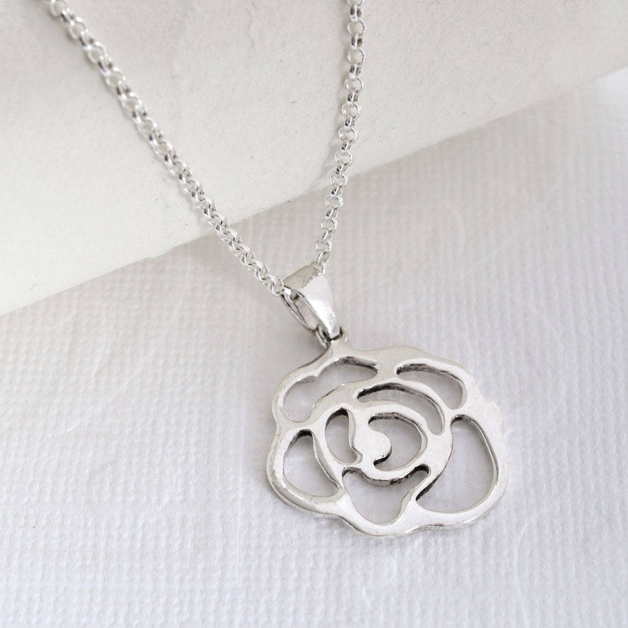 Contemporary Silvers: Contemporary Silver Rose Necklace By Martha Jackson