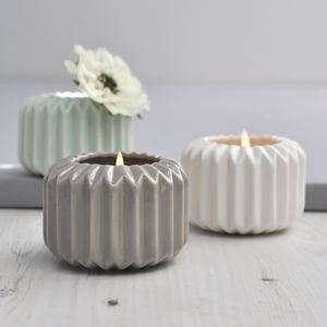 Ori Folded Ceramic Candle Holder - ceramics
