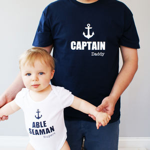 Personalised Daddy And Me Sailor Bodysuit Set