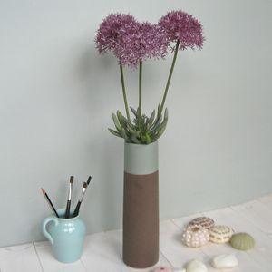 Three Faux Allium Stems In Vase - flowers & plants