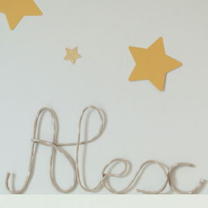 Beige Star Fabric Wire Name Sign - room decorations
