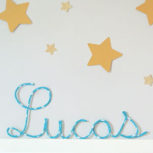 Blue Star Fabric Wire Name Sign