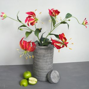 Silk Gloriosa Lily In Oriental Jar - room decorations