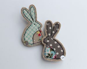 Fabric Rabbit Brooch - women's jewellery