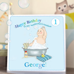 Personalised Boys First Birthday Card 'Bubbles' - cards sent direct
